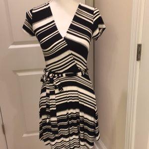 Monteau  striped wrap dress
